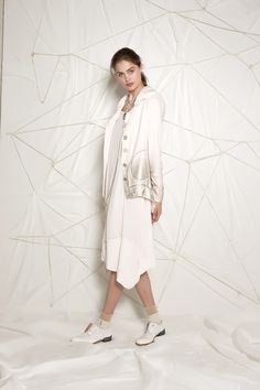 #danieladallavalle #collection #ss16 #elisacavaletti #jacket #dress #socks #shoes #necklace #jewellery #white #gold #beige