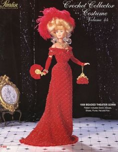 1908 Beaded Theater Gown for Barbie Doll Paradise Vol 44 Crochet Pattern | eBay