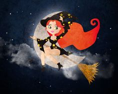 Cute Witch on Broomstick