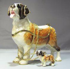 New Trinket Box Gift Crystals Saint Bernard Dog Animal Necklace