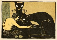 to a story by the Brothers Grimm. -Illustration to a story by the Brothers Grimm. - Black Cat with claws Linocut print. Grimm's Fairy Tales Book, Brothers Grimm Fairy Tales, Neko, Folklore, Dark Stories, Ghost Stories, Matou, Cat Posters, Movie Posters