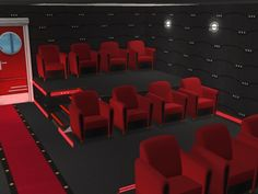Here are a few pics of my new cinema. It's on a lot, so it's fairly small. Cinema Chairs, Sims 4 Dresses, Sims 4 Cc Furniture, Sims Ideas, Sims 4 Build, Sims 4 Game, The Sims4, Sims House, Sims Cc