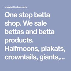 One stop betta shop. We sale bettas and betta products. Halfmoons, plakats, crowntails, giants, fighers, double tails, brine shrimp, sponge filters.