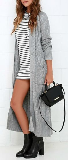 f2856edda3 At Great Length Grey Long Cardigan Sweater