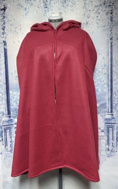 Maroon Red Fleece Cloak Size XL with hood Wet Weather, Cloak, Hooded Jacket, Thighs, Costume, Red, Style, Fashion, Jacket With Hoodie