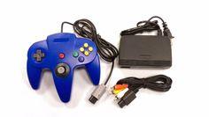 ** AC Adaptor + Blue Controller + AV Cable Cord  Bundle for Nintendo 64 N64 #OldSkool