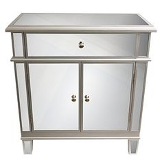 Mirrored Accent Chest Sideboard Table Drawer Door With Mirrors Silver Furniture Silver Furniture, Mirrored Furniture, Rustic Furniture, Mirrored Nightstand, Glass Furniture, Unique Furniture, Cheap Furniture, Luxury Furniture, Furniture Ideas