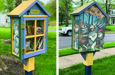 This #LittleFreeLibrary charter 101986 in Exton, PA, is beautifully painted with images from the beloved children's book WHERE THE WILD THINGS ARE. Little Free Libraries, Free Library, Library Books, Lending Library, All Craft, Childrens Books, Wild Things, Creative, Outdoor Decor