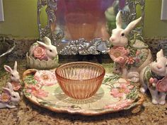 fritz and floyd Easter Table Settings, Easter Table Decorations, Easter Decor, Easter Dishes, Easter Eggs, White Bunnies, Rabbit Art, Easter Brunch, Easter Baskets