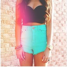 high waisted shorts with bandeau