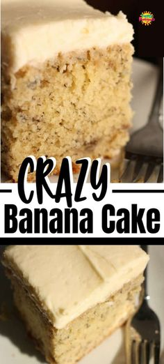 This Crazy Banana Cake is the best banana cake you'll ever taste. Super-moist and delicious every time. The way you bake and cool it is kind of crazy, but that's the secret to its success! Cake Crazy Banana Cake with Cream Cheese Icing Crazy Banana Cake Recipe, Banana Cake Icing, Sour Cream Banana Cake, Banana Cake Recipe With Buttermilk, Banana Cake Recipes, One Egg Cake Recipe, Overripe Banana Recipes, Banana Coconut Cake, Frozen Banana Recipes