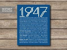 Printable Birthday Facts ~ Digital file 1947 printable 70th birthday newspaper style