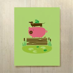 Frog Dog Hog Log Bog Print 14x18 from Shay Ometz and Jeff Barfoot co-founders of bee things $25.00 now featured on Fab.