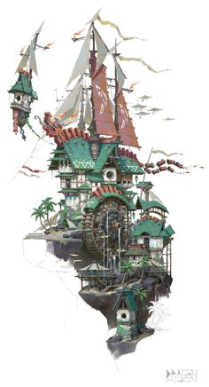Building Games 296533956715087069 - ArtStation – 帆 3 LY Source by Khreeps Fantasy City, Fantasy Kunst, Environment Concept, Environment Design, Art And Illustration, Art Environnemental, Art Et Architecture, Baba Yaga, Fantasy Setting