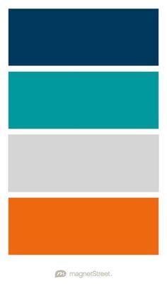 Navy, Teal, Silver, and Orange Wedding Color Palette - custom color palette created at MagnetStreet.com