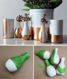 Copper Dipped Vases Tutorial Design