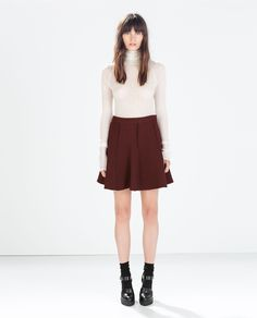 ZARA - NEW THIS WEEK - Maroon PRINTED MINI SKIRT