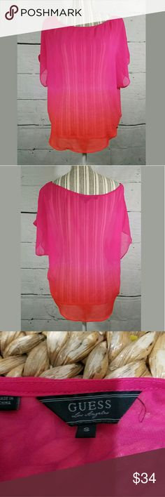 🍉 SALE Guess Ombre Sheer Loose Fit Blouse Guess Ombre Blouse Sheer Loose Fit Pink Orange Size Small  Very Good Used Condition  22.5in pit to pit  24.5in long    LB Guess Tops