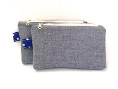 gray chambray zippered pouch - navy polka dot lining