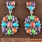Southwestern Jewelry Sterling Silver Multicolor Dangle Earrings