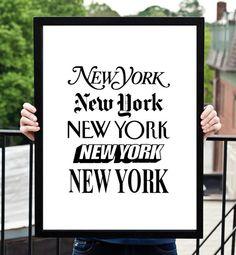 "Typography Art Print ""New York New York"" Black and White Home Decor Office Art Travel Poster Summer Trends"