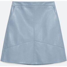 Zara A-Line Skirt (155 PLN) ❤ liked on Polyvore featuring skirts, light blue, knee length a line skirt, zara skirt, blue a line skirt, blue skirt and a line skirt