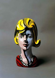 Blonde, 1965 - of Roy Lichtenstein. Fan of Pop Art, that's for sure. I like the works of Lichtenstein, what he did with cartoons. Most of them were about bad relations, so a piece you can place along the house might be more fun. Roy Lichtenstein, Pop Art, Sculpture Head, Lion Sculpture, Art Mannequin, Museum Ludwig, Nam June Paik, Roman History, Expositions