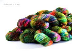 BFL DK hand dyed yarn by Countess Ablaze Eccentric Geeks - rainbow yarn