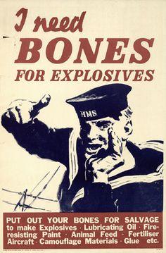 bones for explosives, wartime poster