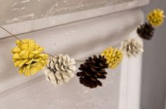 painted pinecone garland. Could do this color combo for fall, and a different color combo for Christmas.