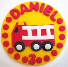 Fondant Cake Topper - Fire Truck, Fire Engine. $24.95, via Etsy.