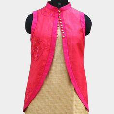 Buy online Jacket - Peach sleeveless jacket from Tadpole Store Kurta Designs, Blouse Designs, Henna Designs, Indian Attire, Indian Wear, Indian Dresses, Indian Outfits, Shrug For Dresses, Sleeveless Jacket