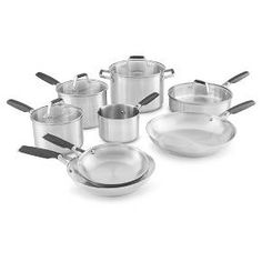 The Select by Calphalon Stainless Steel 12-piece cookware set has everything you need to equip your kitchen. Built to last, durable stainless steel frying pans, sauce pans and more have impact-bonded aluminum bases that heat evenly to ensure delicious food at every meal. Comfort-grip handles stay cool on the stovetop and give a secure hold. Pots and pans are dishwasher safe for easy cleanup, and oven safe too. The Select by Calphalon Stainless Steel 12-piece cookware set includes:<br>&a...
