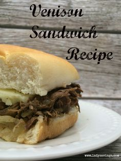 If you have a deer hunter in you family, consider yourself lucky since you probably have a freezer full of venison right now! This recipe for venison sandwiches is my husband's and my favorite way to cook and eat deer meat! Deer Steak, Venison Steak, Venison Deer, Venison Burgers, Venison Recipes, Crockpot Recipes, Cooking Recipes, Venison Meals, Crockpot Meat