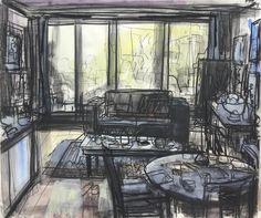 John Bokor - Works on Paper – Lounge room morning, 2016 Love Drawings, Beautiful Drawings, Easy Drawings, Pencil Drawings, Painting Corner, Work In Australia, Interior Design Sketches, Street Gallery, Wall Drawing
