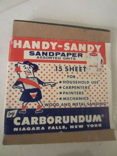 Vintage HANDY-SANDY Sandpaper by Carborundum Niagara Falls, New York Kitschy Advertising Ask for Coated Abrasives from Simons 25 cents