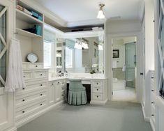 Closet Master Bedroom Closet Design, Pictures, Remodel, Decor and Ideas - page 18 Closet Vanity, Bathroom Closet, Bathroom With Vanity, Bathroom Ideas, Walk In Closet Design, Closet Designs, Master Closet Design, Wardrobe Design, Dressing Room Design
