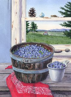 """""""Blueberries and Red Bandanna"""" by Maureen McCarthy"""