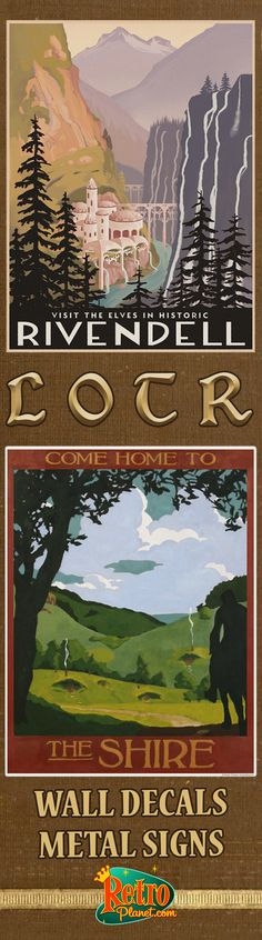 Shire & Rivendell signs & wall decals made in the style of vintage travel posters, but with the elves' home from The Hobbit and The Lord of the Rings as its setting! Film and travel buffs alike will love decorating their living room, home theater, office, or dorm room.