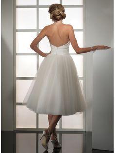 Robe de bal mollet longueur sans bretelles robe de mariage en tulle organza