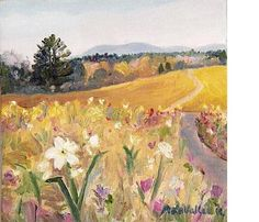 """Adrienne La Vallee 5""""X5"""" SPRING flowers Daffodils Landscape Original by MyMainePaintings, $65.00  ~~~~~~Click on the image or on this link http://www.etsy.com/shop/MyMainePaintings for details on purchasing my art.    WORKS OF ART: Landscapes, Seascapes and Garden Paintings    Treasury Lists for this painting http://www.etsy.com/treasury/listing/92153734 Inspired by the Berkshires."""