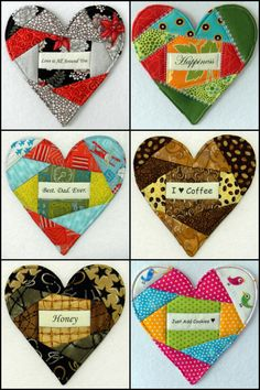 58 Messages - Heart Mug Rug - Love Notes PDF Pattern - Be Mine-Thank You-Crazy 4 U-Sweetie-Life is Good-Love-Dream-Hope-Yummy!