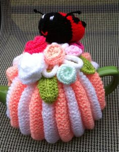 Hand Knitted Ladybird & Flowers Tea Cosy | eBay