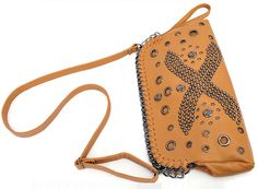 Punk Style Zipper Skull Rivets Brown PU Shoulder Bag