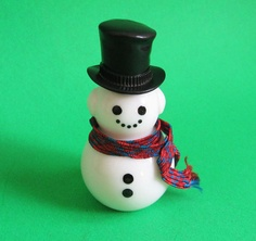 Vintage Milk Glass Snowman Avon Cologne Bottle