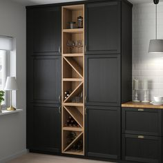 IKEA - VADHOLMA, Wine shelf, brown, stained ash, Makes the contents of the cabinet easy to view and access. An open kitchen cabinet which is suitable for stor Wine Shelves, Wine Storage, Storage Shelves, Tall Cabinet Storage, Open Shelving, Floating Shelves, Wine Bar Cabinet, Kitchen Furniture, Kitchen Interior
