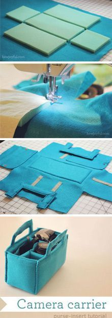 Diy bag felt pouch tutorial Ideas for 2019 Sewing Hacks, Sewing Tutorials, Sewing Crafts, Sewing Projects, Sewing Patterns, Video Tutorials, Sacs Tote Bags, How To Make Camera, Fabric Bags