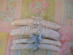 4 Baby hangers baby satin hangers satin baby hangers vintage baby hanger baby nursery baby clothing hanger vintage satin TillieLuvsTreasures