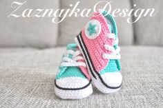 Pink/Mint Crochet baby sneakers by UgglaLand on Etsy, $48.00