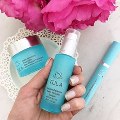 I often get questions about my skincare routine and these @tula products have been a staple for me! I mentioned the Overnight Skin Rescue Treatment and Deep Wrinkle Serum in my skincare routine video last month and I've been using them 5-6 nights a week!